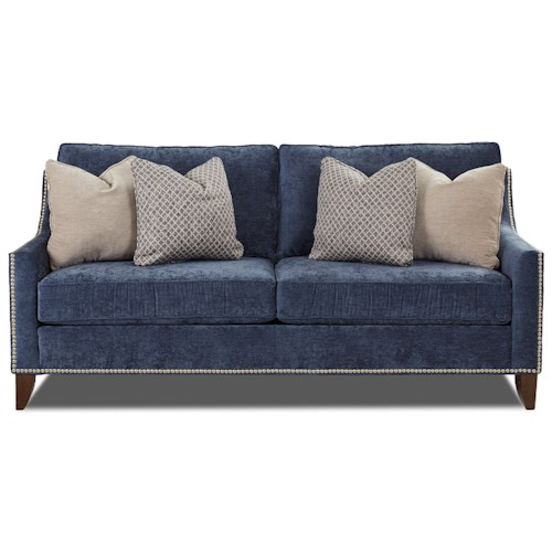 Klaussner Emmy Transitional Apartment-Sized Sofa with Nailhead ...