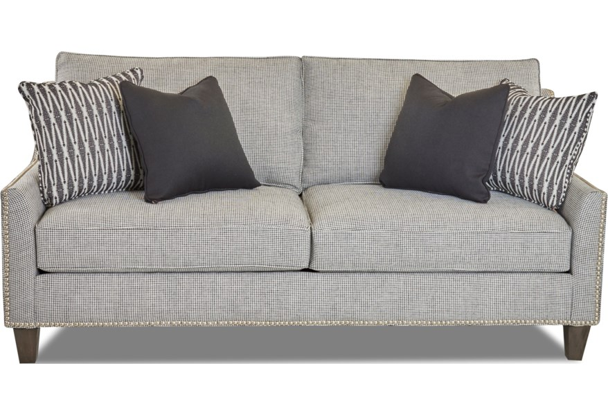 Emmy Transitional Apartment-Sized Sofa with Nailhead Trim by Klaussner at  Dunk & Bright Furniture