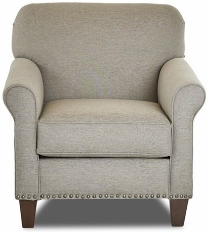 Klaussner Emory Transitional Customizable Chair with Rolled Sock Arms