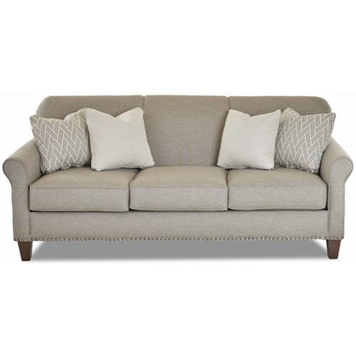 Klaussner Emory Transitional Customizable Sofa with Thin Rolled Arms