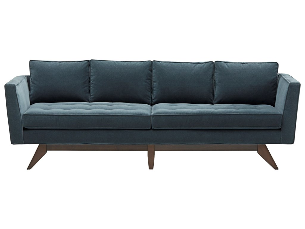 Klaussner Fairfax Mid-Century Modern Style Sofa with Angled Wood ...
