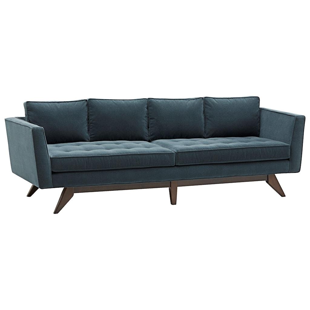 Klaussner fairfax mid century modern style sofa with angled wood legs