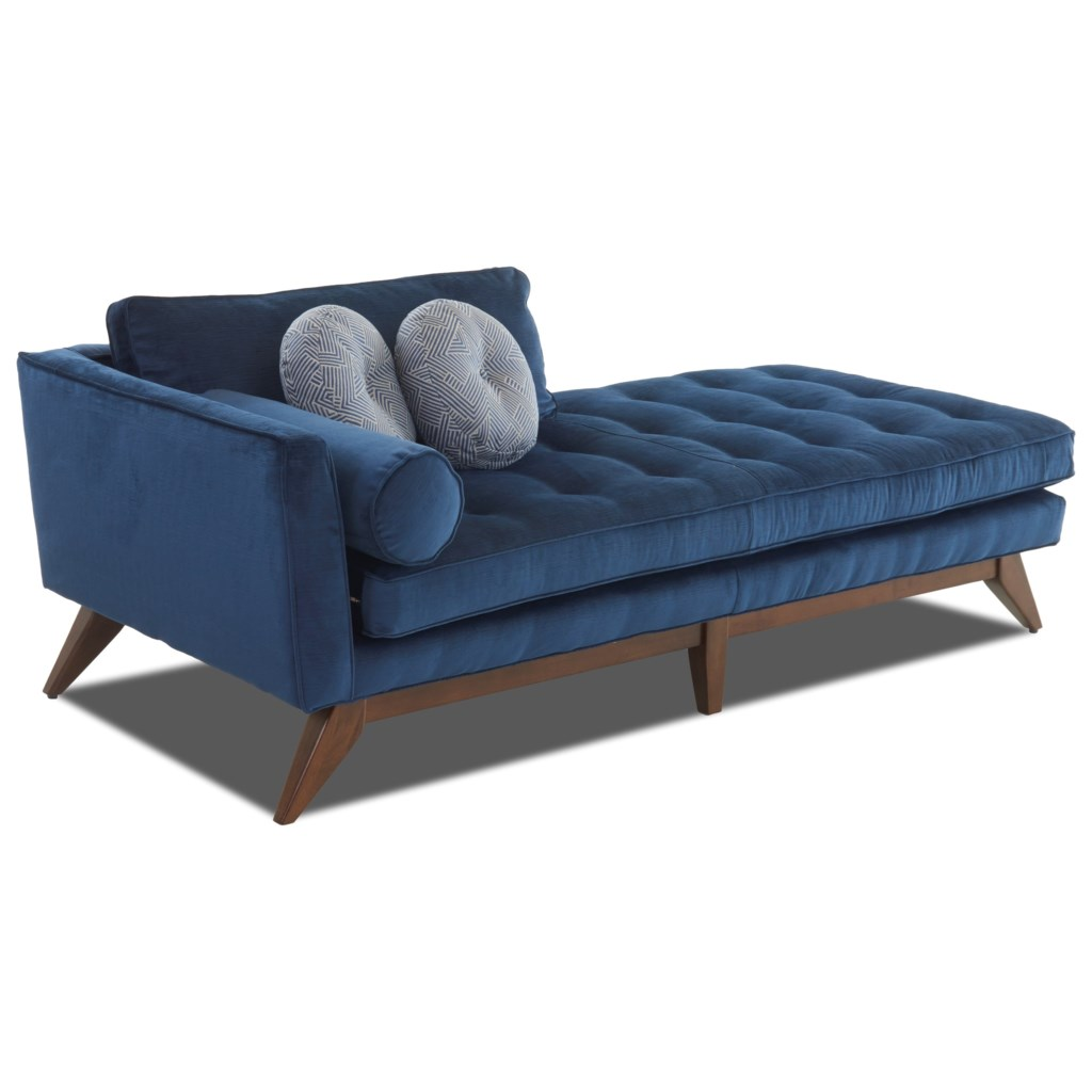 Klaussner Fairfax K1600l Chase Mid Century Modern Chaise Lounge With