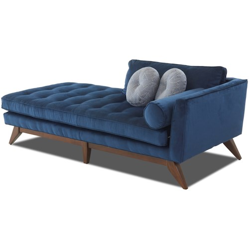 Klaussner Fairfax Mid-Century Modern Chaise Lounge with Right-Facing Arm