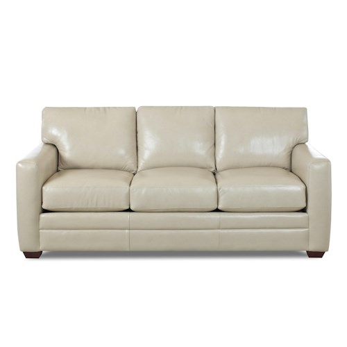 Klaussner Fedora Contemporary Three Over Three Sofa with Track Arms