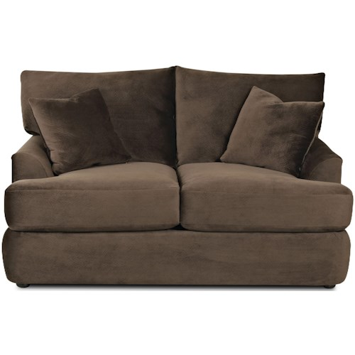 Klaussner Findley Contemporary Loveseat with Rounded Track Arms