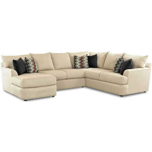 Klaussner Findley Sectional Sofa With Left Side Chaise Lounger