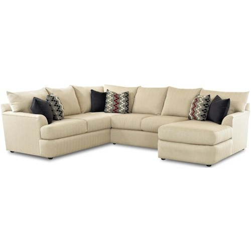 Klaussner Findley Sectional Sofa With Right Arm Chaise Lounger
