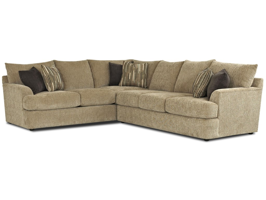 Klaussner Findley Contemporary L-Shaped Sectional Sofa - Olinde's Furniture  - Sectional Sofas
