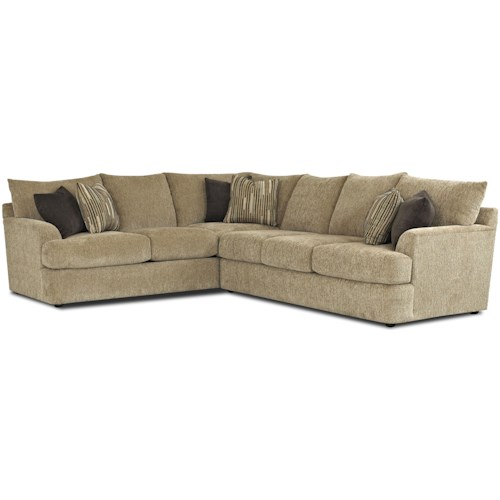 Klaussner Findley Contemporary L-Shaped Sectional Sofa ...