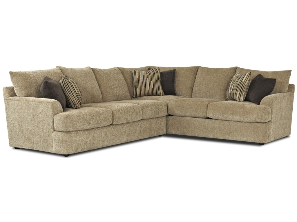 Findley Contemporary L-Shaped Sectional Sofa by Klaussner at Pilgrim  Furniture City
