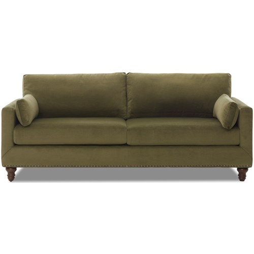 Klaussner Flanders Sofa with Nailhead Trim and Turned Feet