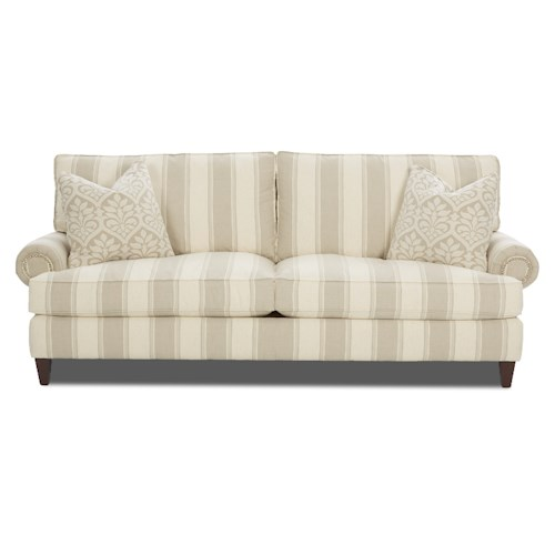 Klaussner Flannery Traditonal Stationary Sofa with Rolled Arms and Nailhead Trim
