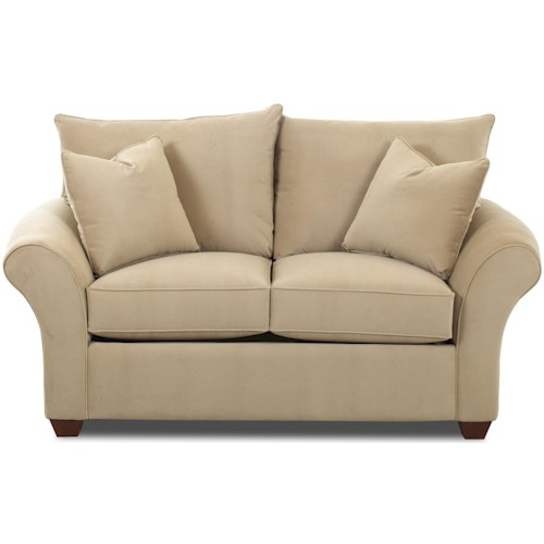Klaussner Fletcher Transitional Loveseat with Rolled Arms