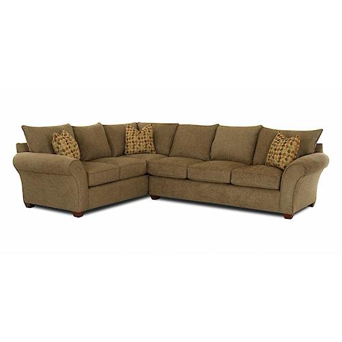Klaussner Fletcher Transitional 2 Piece Sectional Sofa