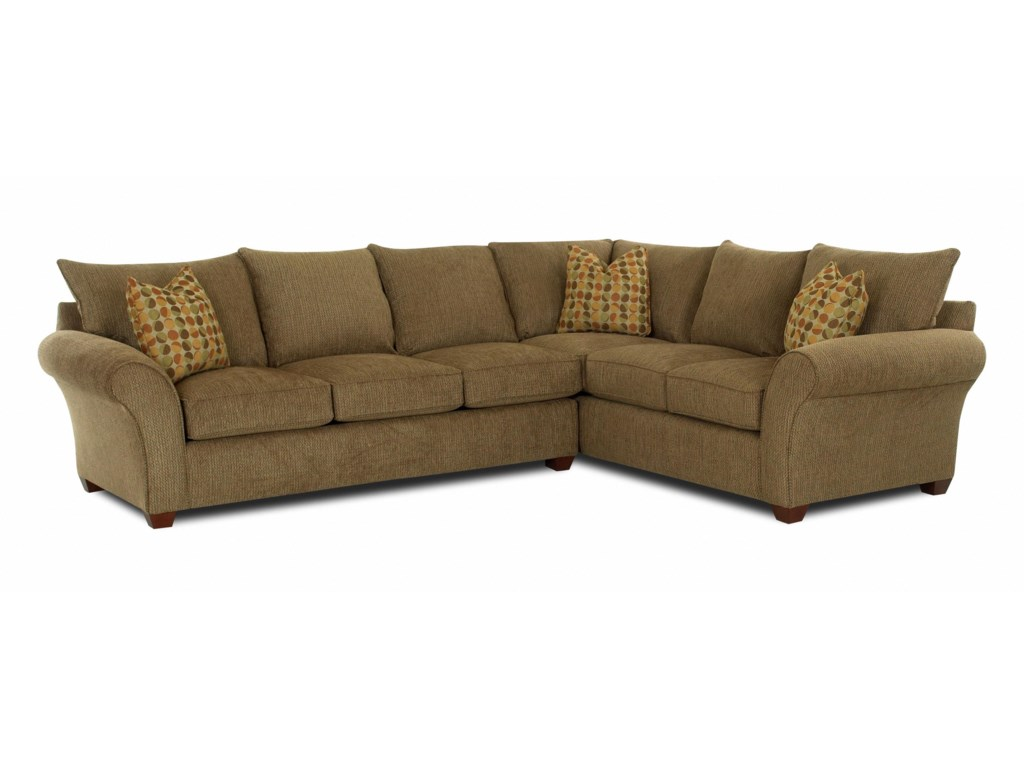 Klaussner Fletcher Transitional 2 Piece Sectional Sofa | Corner ...