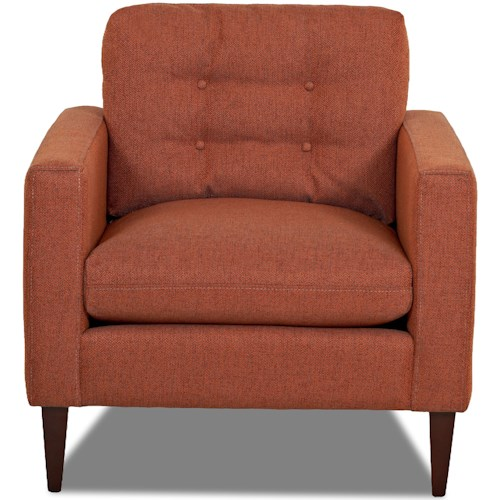 Klaussner Florence Mid-Century Modern Chair with Button Tufted Back