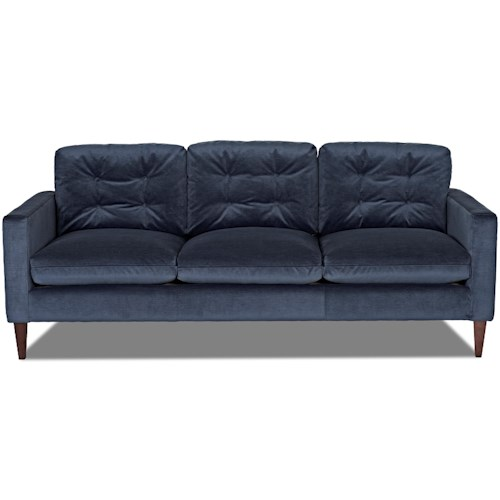 Klaussner Florence Mid-Century Modern Sofa with Button Tufted Back