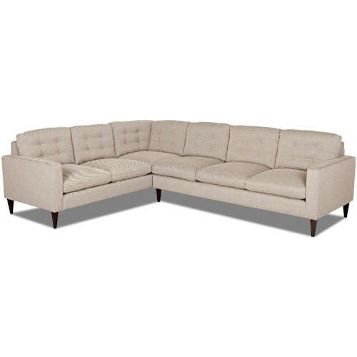 Klaussner Florence Mid Century Modern Sectional Sofa with Left Arm Facing Corner Sofa