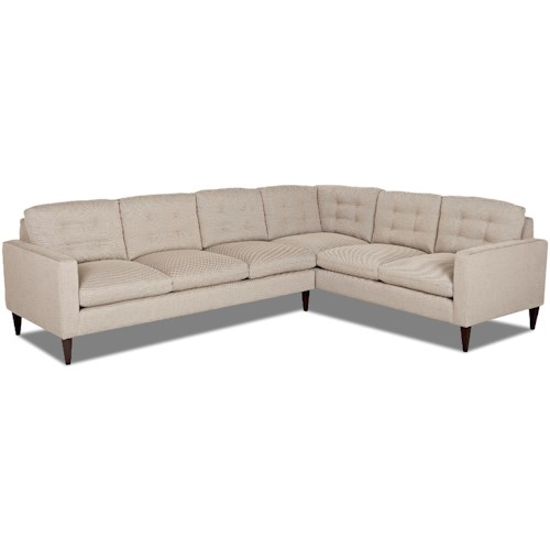 Klaussner Florence Mid-Century Modern Sectional Sofa with Right Arm Facing Corner Sofa