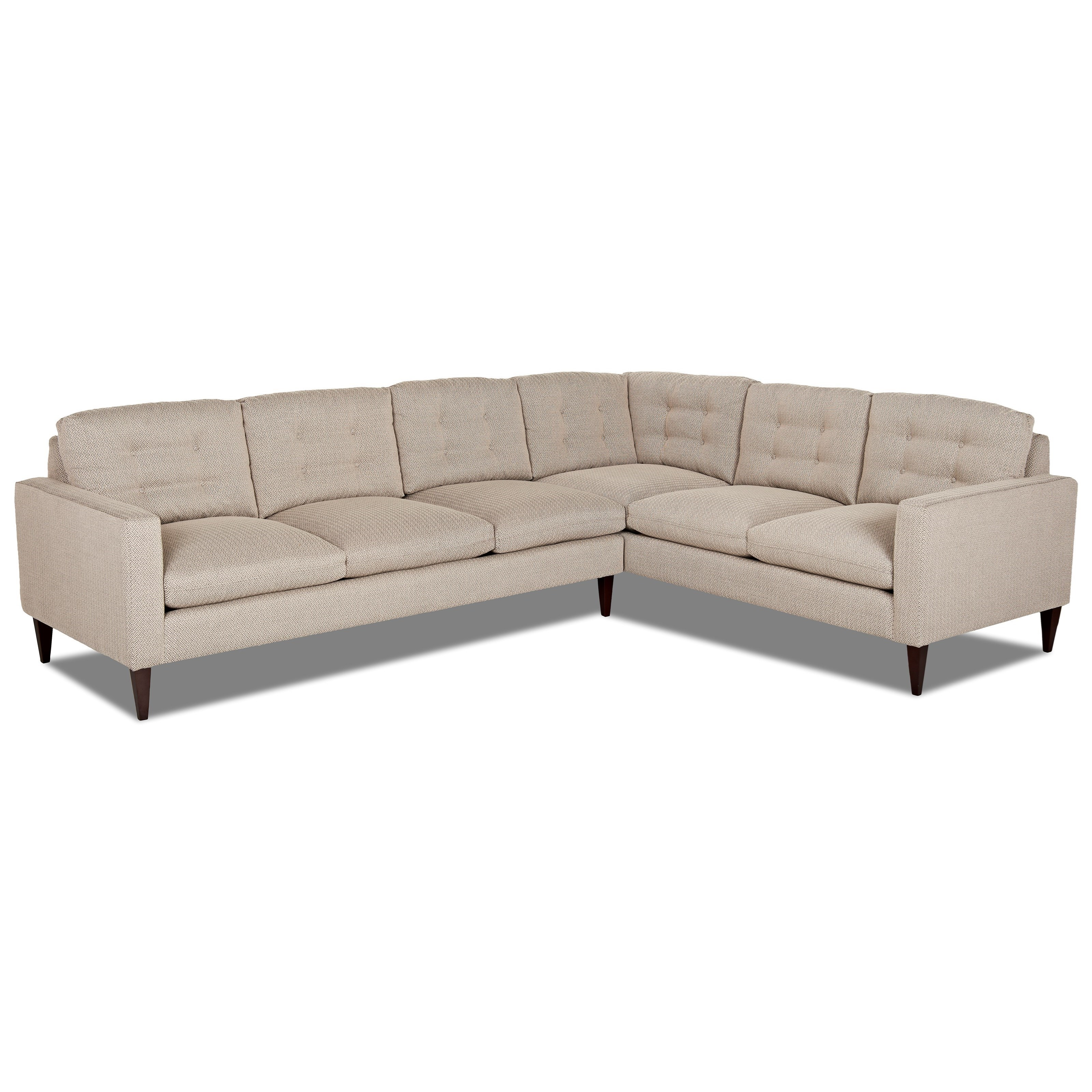 Klaussner Florence Mid Century Modern Sectional Sofa With Right Arm Facing Corner  Sofa