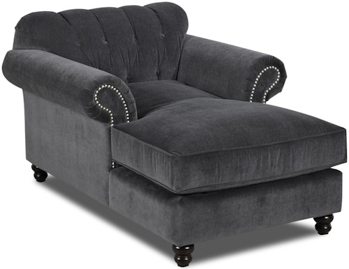 Klaussner Flynn Traditional Chaise with Button Tufted Back and Rolled Arms