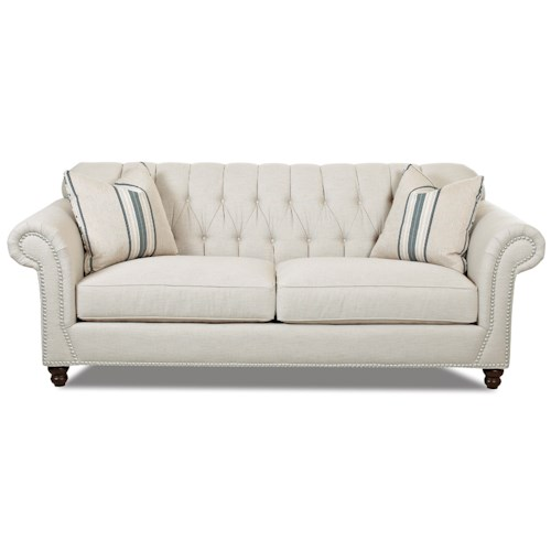 Klaussner Flynn Traditional Sofa with Button Tufted Back and Rolled Arms