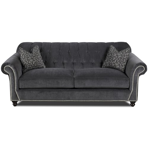 Klaussner Flynn Traditional Sofa with Button Tufted Back, Rolled Arms and Throw Pillows