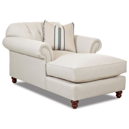 Klaussner Flynn Traditional Chaise with Button Tufted Back Rolled