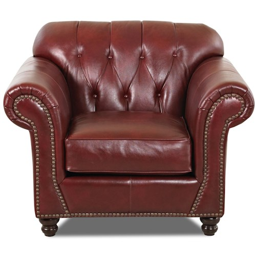 Klaussner Flynn Traditional Arm Chair with Button Tufted Back and Rolled Arms