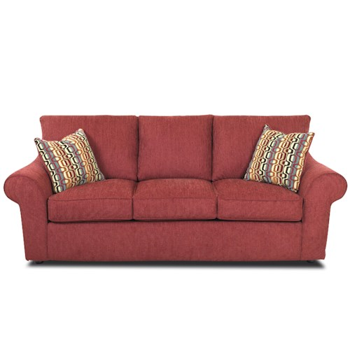 Belfort Basics Henry Rolled Arm Sofa with Accent Pillows
