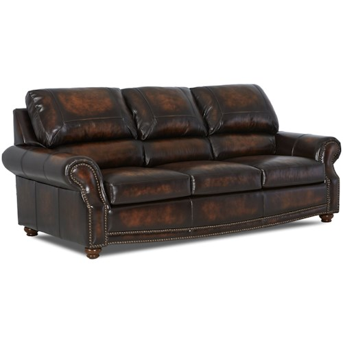 Klaussner Foxfire Traditional Leather Sofa with Nailhead Trim