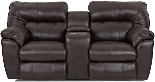 Klaussner Freeman Casual Reclining Love Seat with Pillow Top Arms and Storage Console