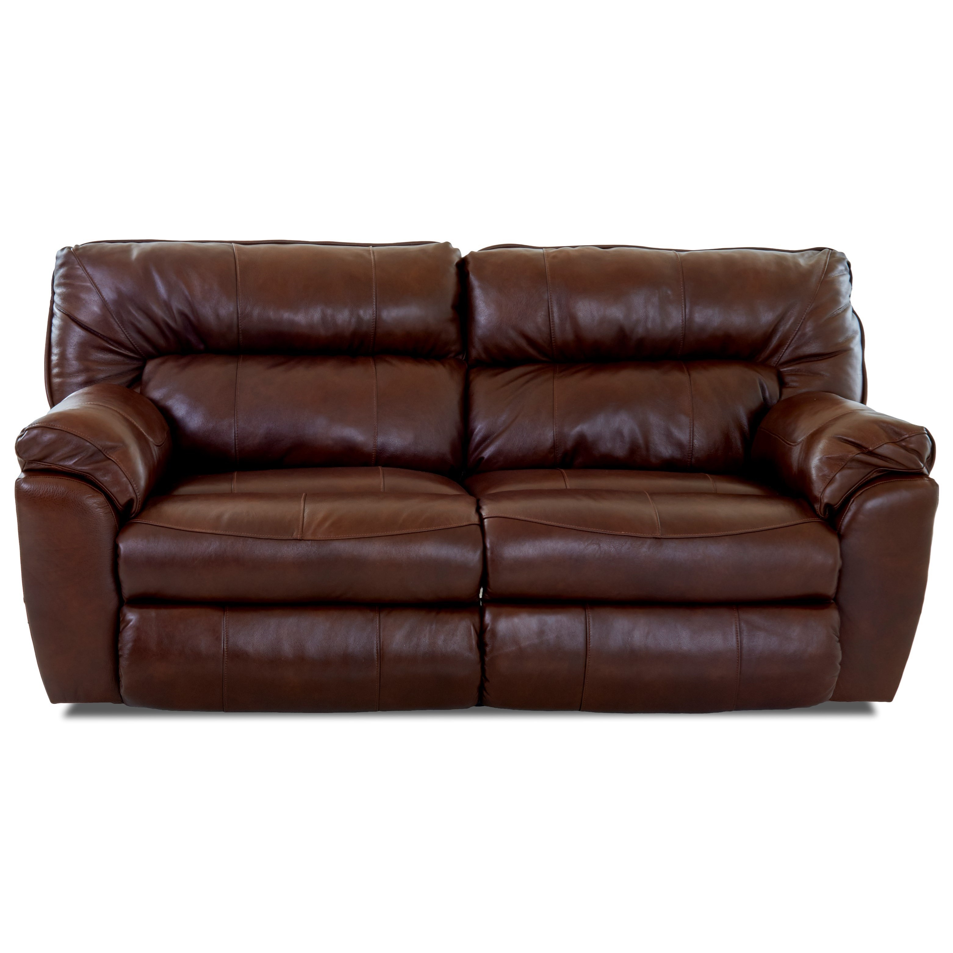 Casual Reclining Love Seat with Pillow Top Arms