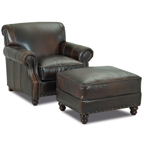 Klaussner Fremont  Traditional Leather Arm Chair & Ottoman Set