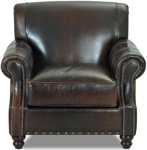 Klaussner Fremont  Traditional Leather Arm Chair with Nail Head Trim