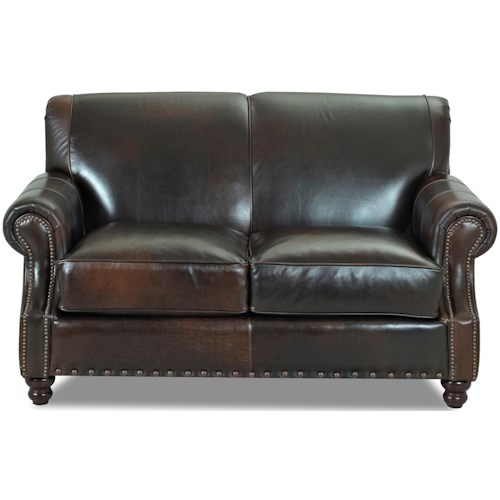 Klaussner Fremont  Traditional Leather Loveseat with Nail Head Trim