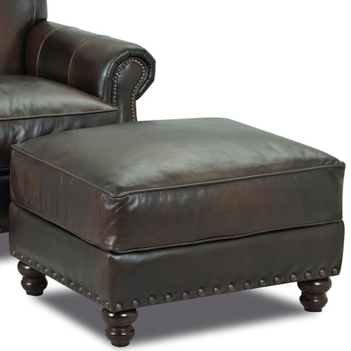 Klaussner Fremont  Traditional Leather Ottoman with Nail Head Trim