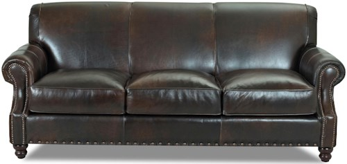 Klaussner Fremont  Traditional Leather Stationary Sofa