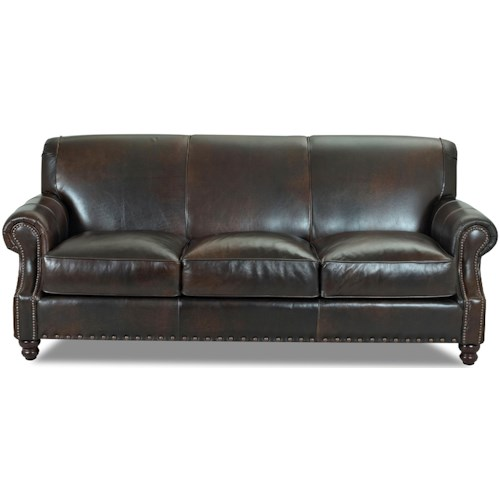 Klaussner Fremont  Traditional Leather Stationary Sofa with Nail Head Trim