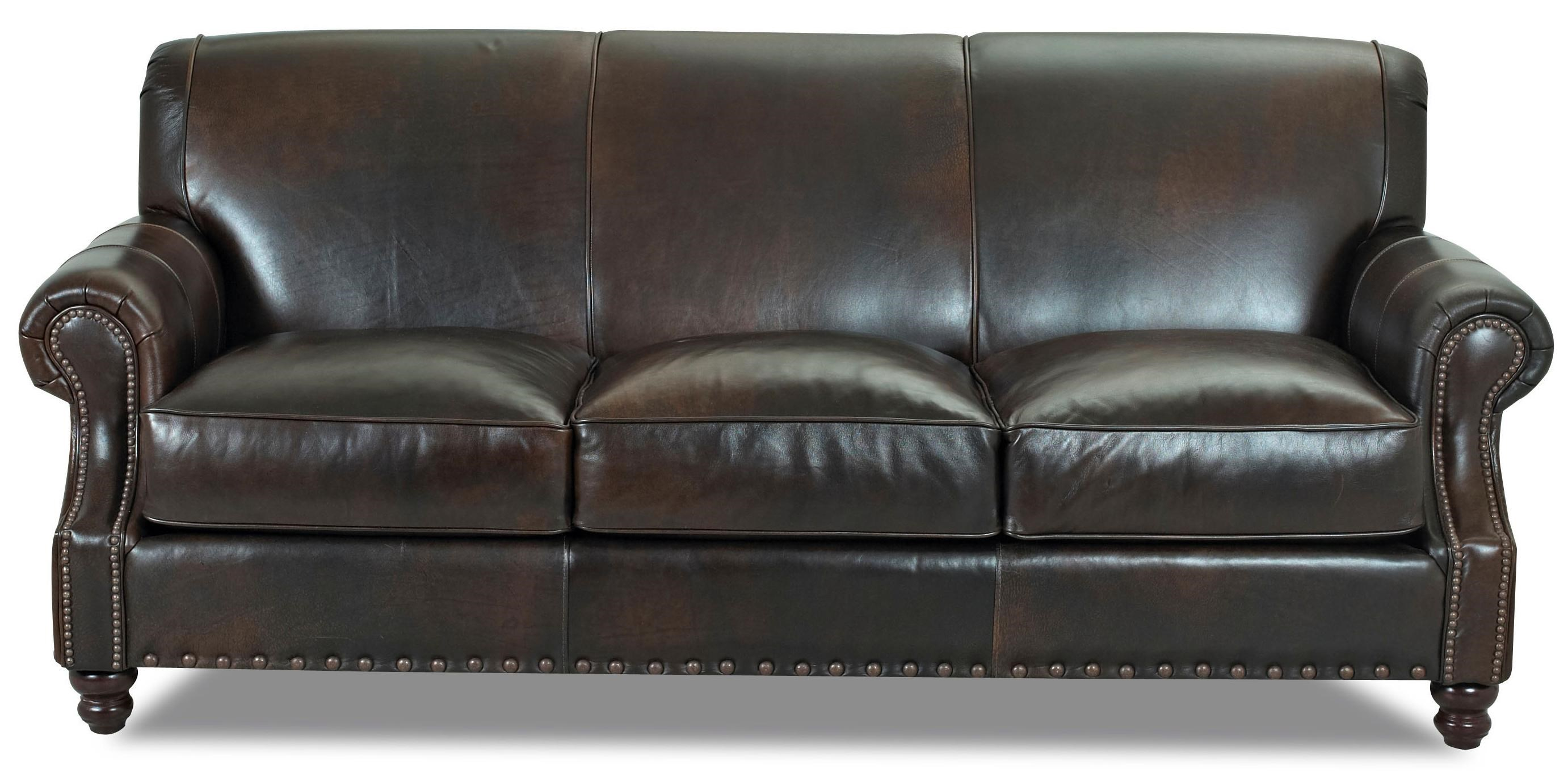 Delightful Klaussner Fremont Traditional Leather Stationary Sofa With Nail Head Trim    Dunk U0026 Bright Furniture   Sofa
