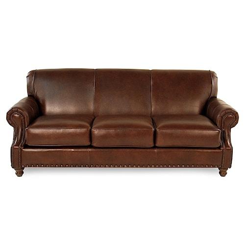 Abilene Traditional Leather Sofa W Nailhead Trim Rotmans Sofas Worcester Boston Ma