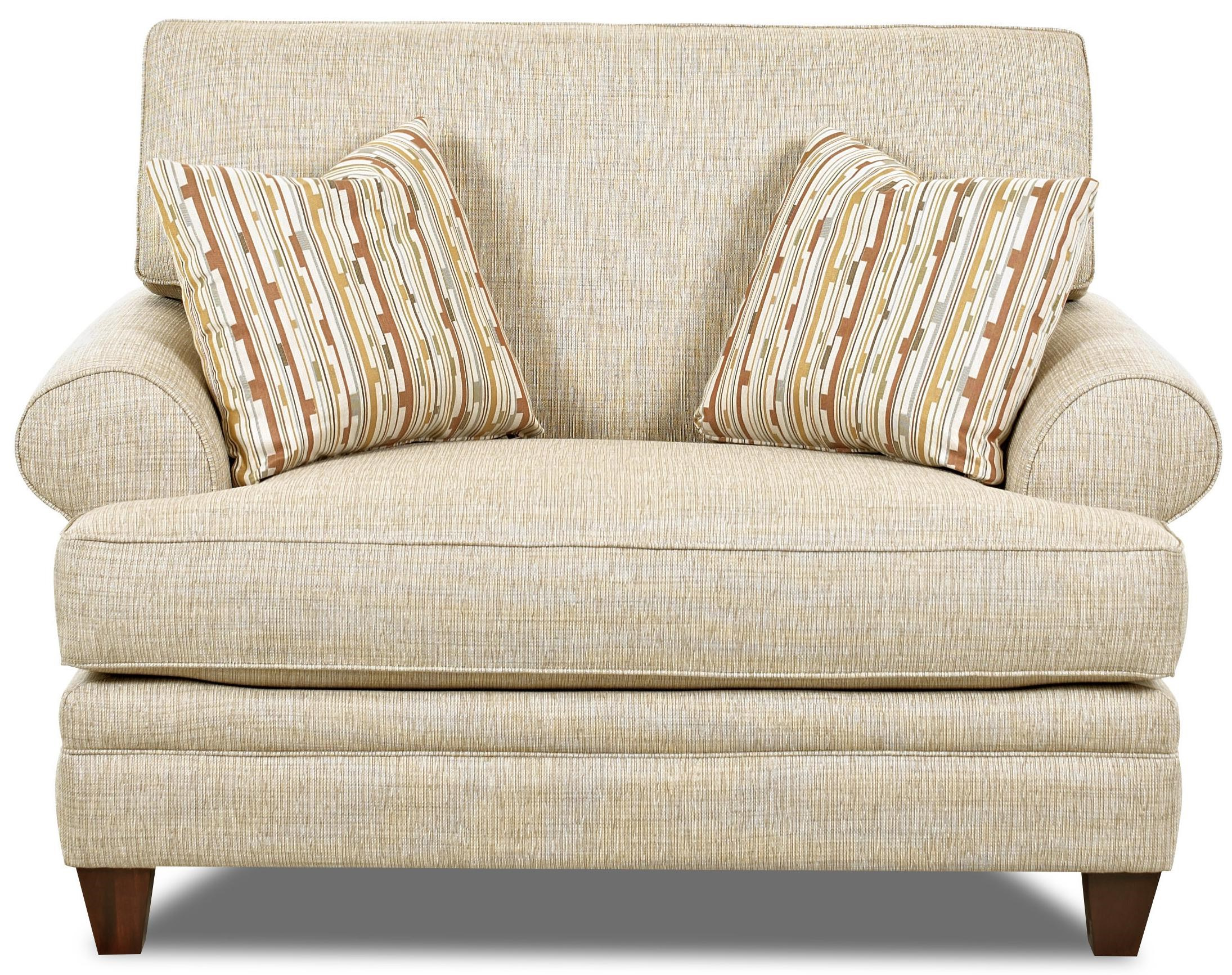Klaussner Fresno Transitional Oversized Chair With Accent Pillows Wayside Furniture Chair A Half