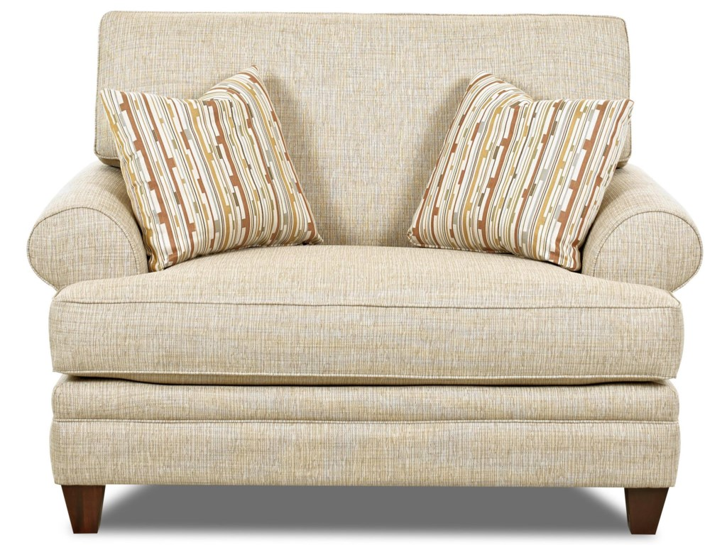 Klaussner fresno transitional oversized chair with accent pillows