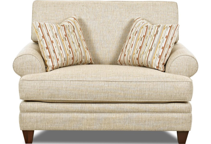 Klaussner Fresno Transitional Oversized Chair With Accent Pillows Godby Home Furnishings Chair A Half