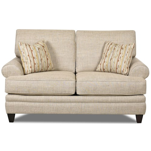 Klaussner Fresno Transitional Loveseat with Low Profile Rolled Arms