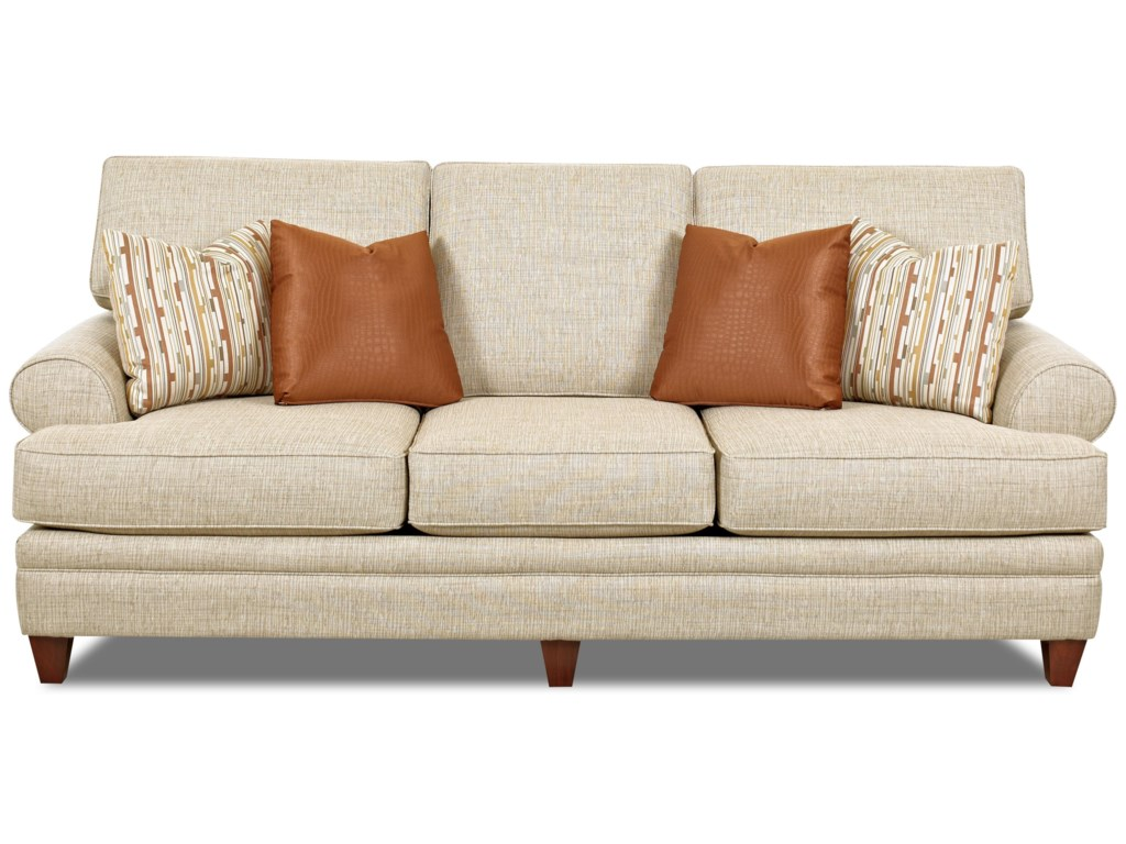 Fresno transitional sofa with low profile rolled arms by klaussner