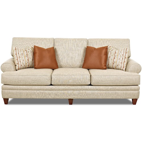Klaussner Fresno Transitional Sofa with Low Profile Rolled Arms
