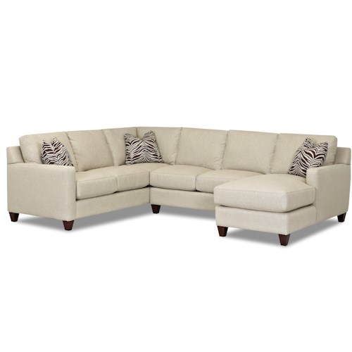 Klaussner Fuller Contemporary Stationary Sectional with Track Arms, Right Side Facing Chaise and Down Blended Cushions