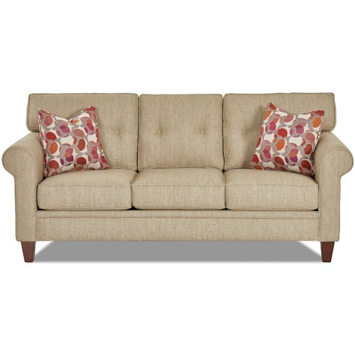 Klaussner Gates Casual Sofa with Button Tufted Back Cushions